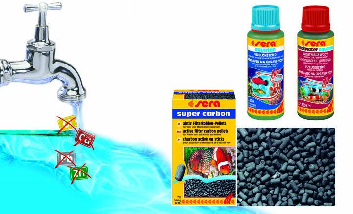 materiales filtrantes para la filtracion quimica del acuario, junto a los aditivos básicos Sera
